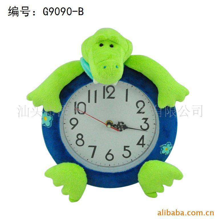可爱卡通动物挂钟/时钟,毛绒卡通时钟批发信息